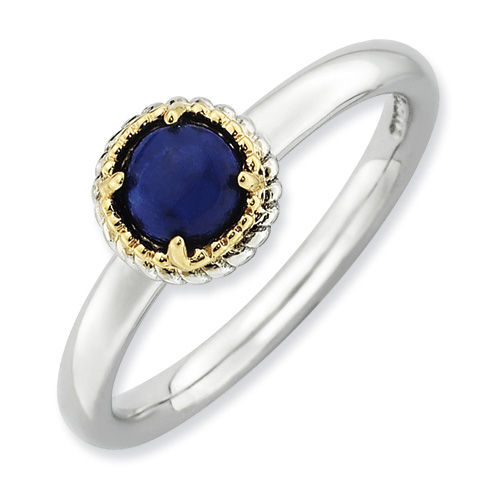 Sterling Silver 14k Stackable Expressions Lapis Ring