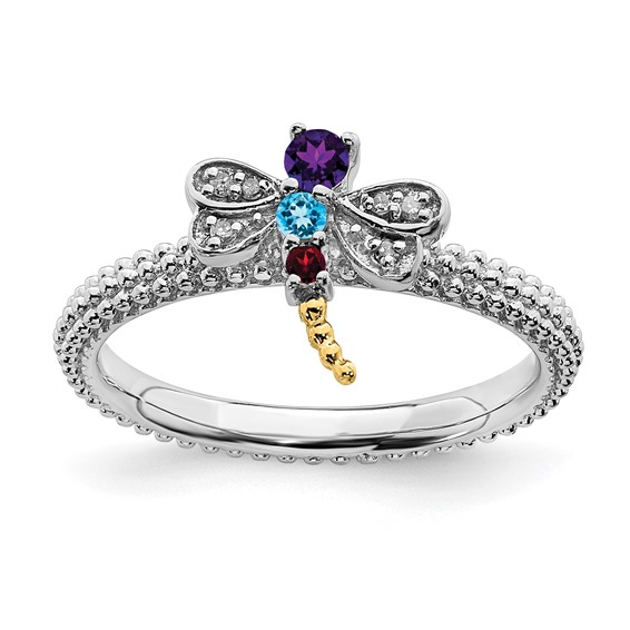 Sterling Silver 14k Stackable Gemstone Diamond Dragonfly Ring
