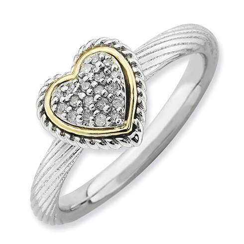 Sterling Silver 14k Stackable Expressions Diamond Heart Ring