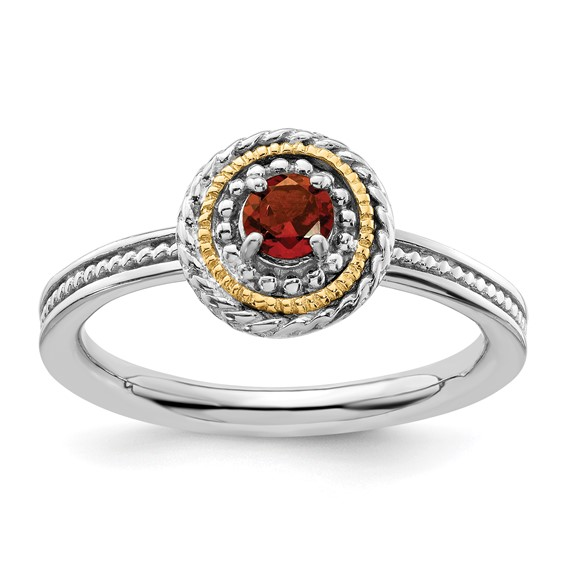 Sterling Silver 14kt Gold Stackable Expressions Garnet Ring