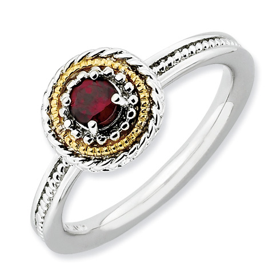 Sterling Silver 14kt Gold Stackable Expressions Garnet Ring