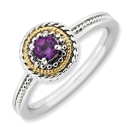 Sterling Silver 14k Stackable 1/4 ct Amethyst Ring with Rope Bezel
