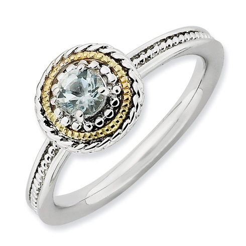 Sterling Silver 14k Stackable Expressions Aquamarine Ring