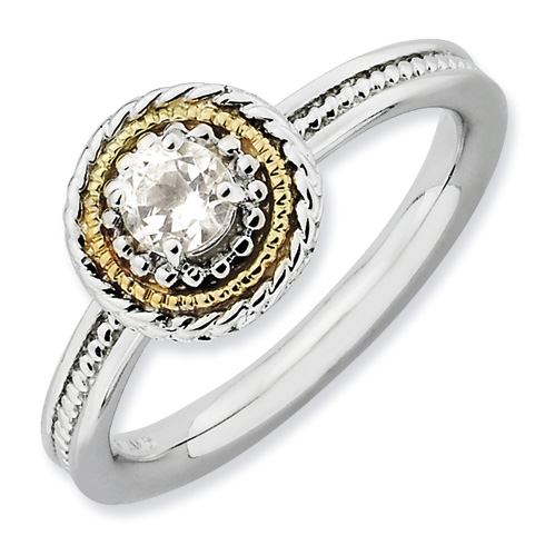 Sterling Silver 14kt Gold Stackable Expressions White Topaz Ring