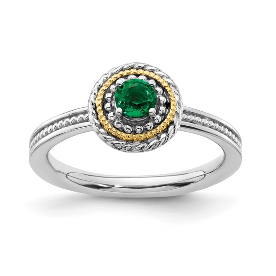 Sterling Silver 14k Stackable 1/4 ct Created Emerald Ring with Rope Bezel