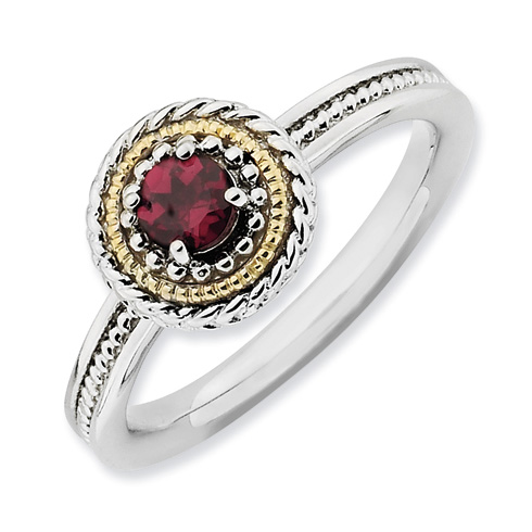 Sterling Silver 14kt Gold Stackable Rhodolite Garnet Ring