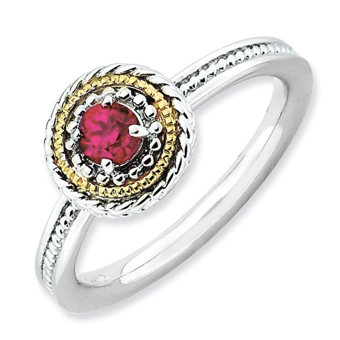 Sterling Silver 14kt Gold Stackable Created Ruby Ring
