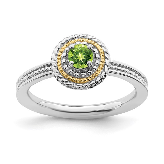 Sterling Silver 14kt Gold Stackable Expressions Peridot Ring