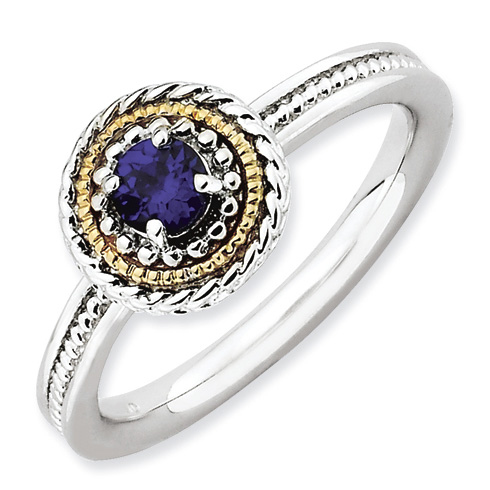 Sterling Silver 14k Stackable Expressions Created Sapphire Ring