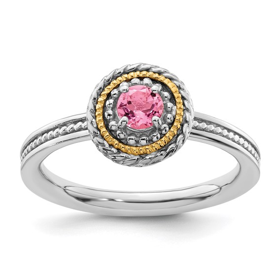 Sterling Silver 14kt Gold Stackable Pink Tourmaline Ring