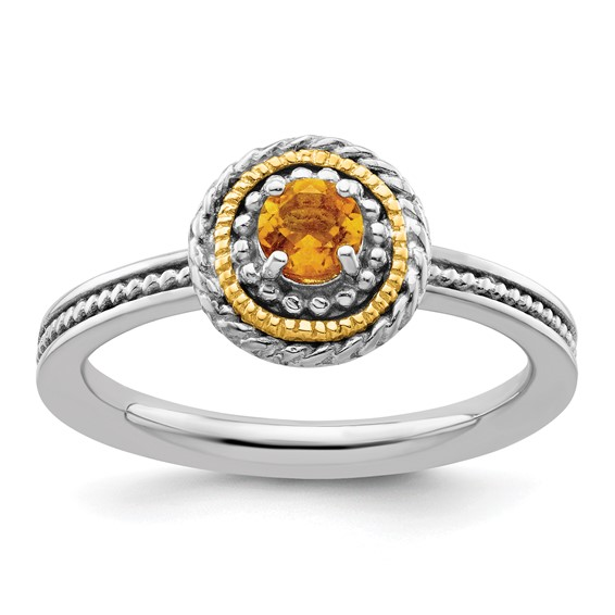Sterling Silver 14kt Gold Stackable Expressions Citrine Ring