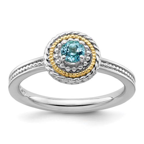 Sterling Silver 14kt Gold Stackable Expressions Blue Topaz Ring