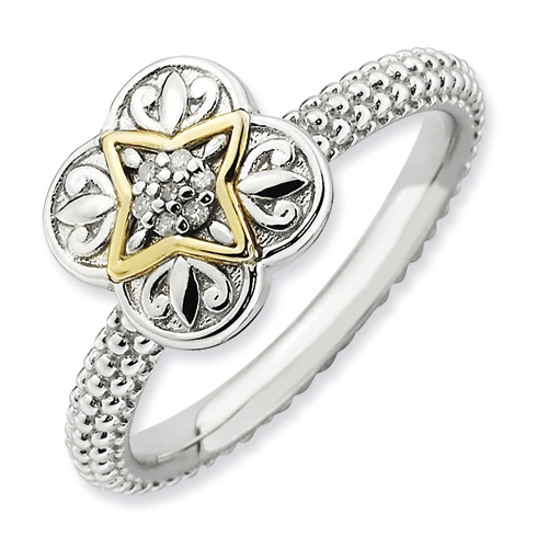 Sterling Silver 14k Stackable Expressions Diamond Ring