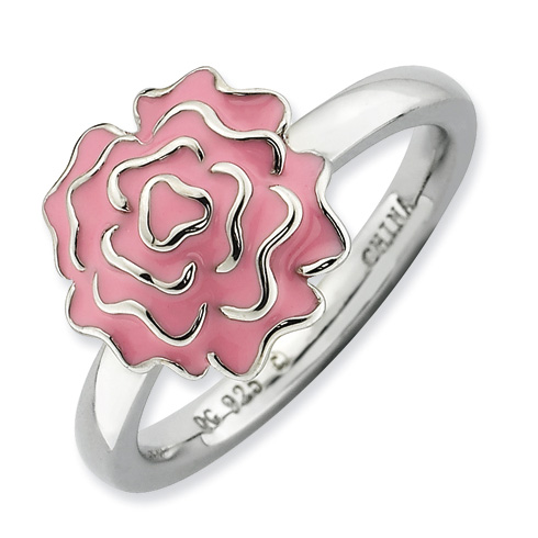 Sterling Silver Stackable Expressions Carnation Flower Ring