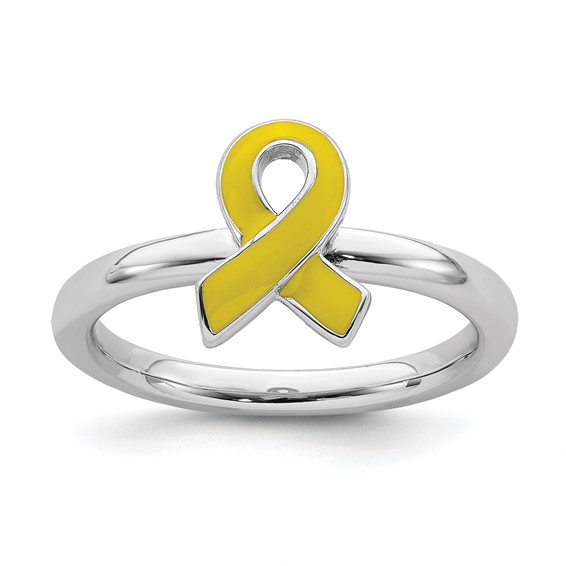 Sterling Silver Stackable Yellow Enameled Awareness Ribbon Ring