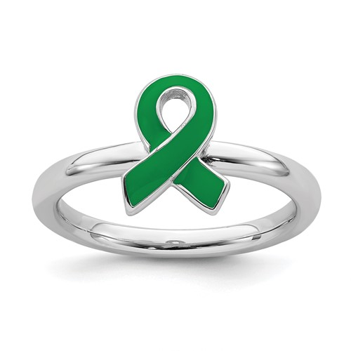 Sterling Silver Stackable Green Enameled Awareness Ribbon Ring