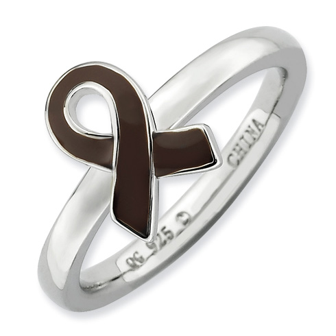 Sterling Silver Stackable Brown Enameled Awareness Ribbon Ring