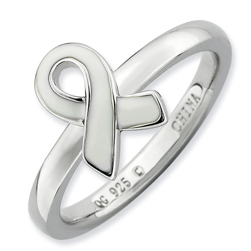 Sterling Silver Stackable White Enameled Awareness Ribbon Ring