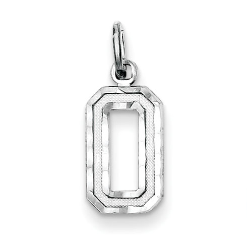 Sterling Silver Diamond-cut #0 Charm