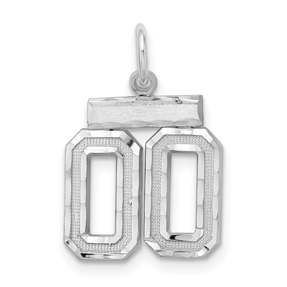 Sterling Silver Small Diamond-cut #00 Charm