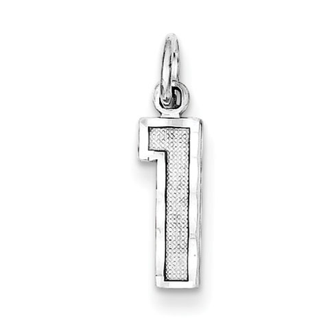 Sterling Silver Small Diamond-cut #1 Charm