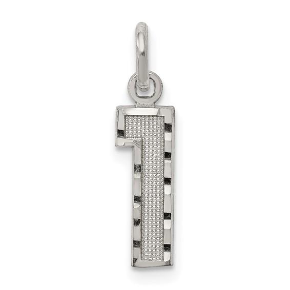 Sterling Silver Small Diamond-cut #1 Charm