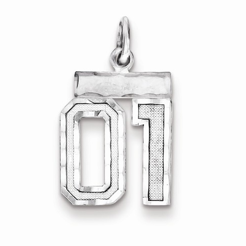 Sterling Silver Small Diamond-cut #01 Charm