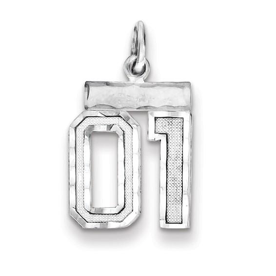 Sterling Silver Small Diamond-cut #01 Charm