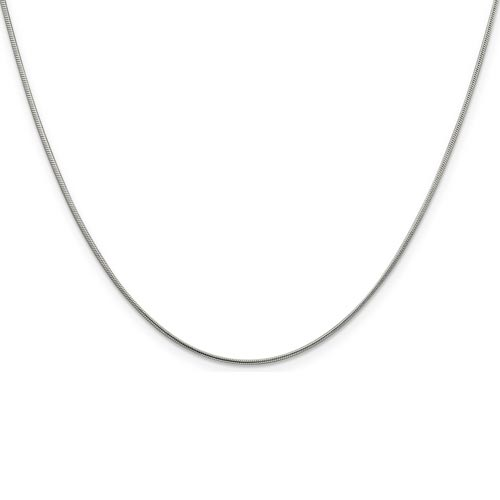 24in Round Snake Chain 1mm - Sterling Silver