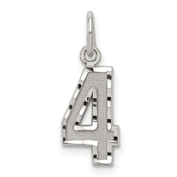 Sterling Silver Small Diamond-cut #4 Charm