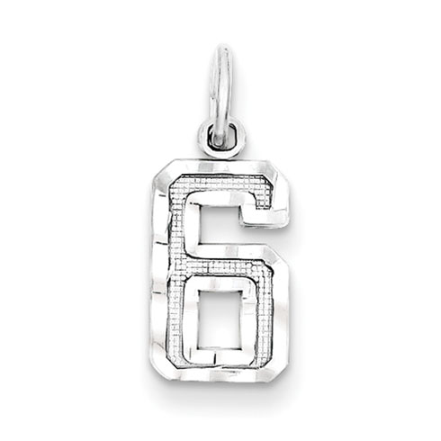 Small #6 Charm - Sterling Silver