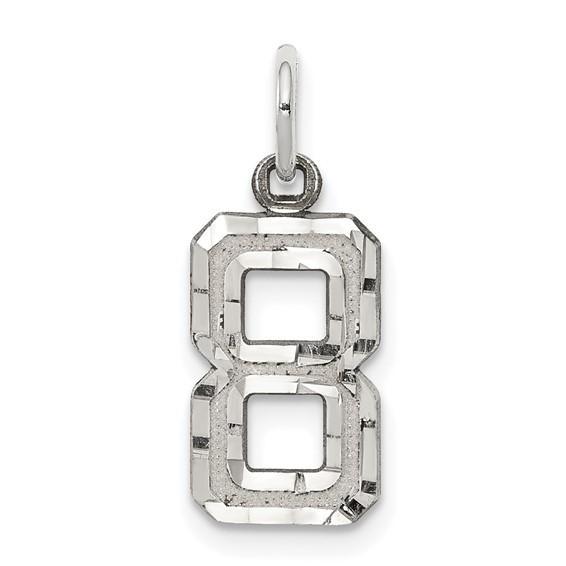 Sterling Silver Small Diamond-cut #8 Charm