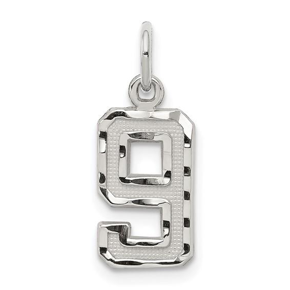 Sterling Silver Small Diamond-cut #9 Charm