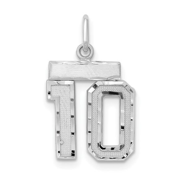 Sterling Silver Small #10 Charm