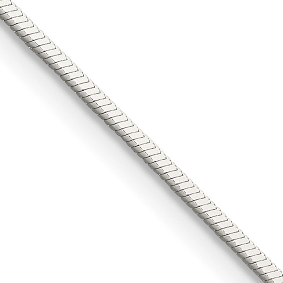 24in Square Snake Chain 1mm - Sterling Silver
