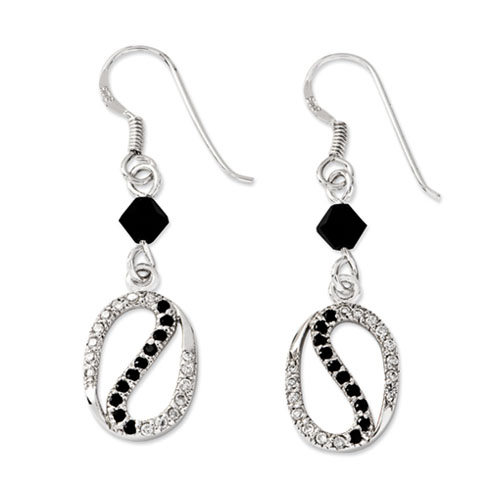 Sterling Silver Black & Clear CZ The Road Less Traveled Earrings