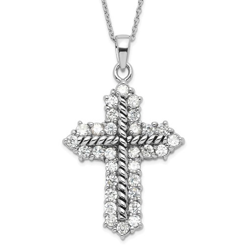 Sterling Silver Eternal Perspective 18in Cross Necklace