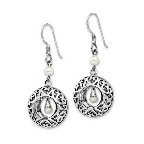 Sterling Silver Antiqued Pearls of Wisdom Dangle Earrings