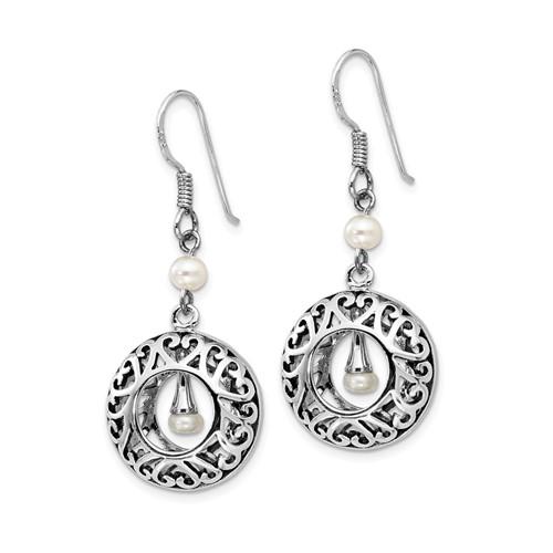 Sterling Silver Antiqued Pearls of Wisdom Dangle Earrings
