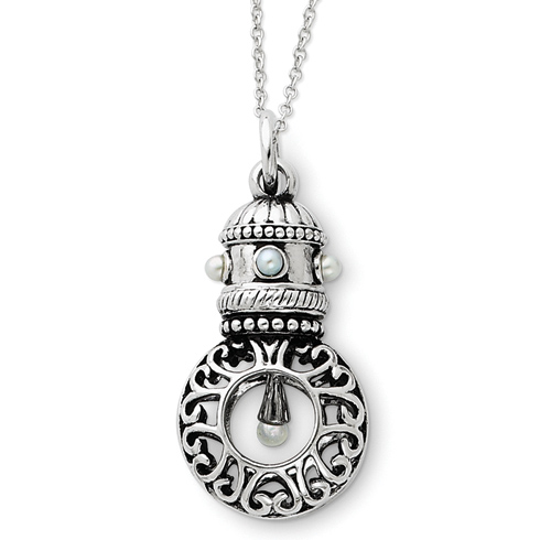 Sterling Silver Antiqued Pearls of Wisdom 18in Necklace