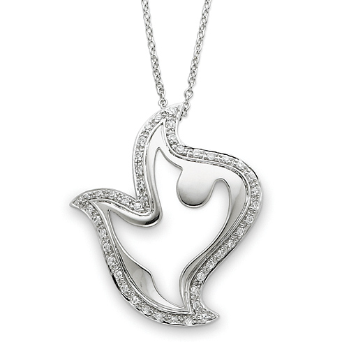 Sterling Silver & CZ Amazing Peace 18in Dove Necklace