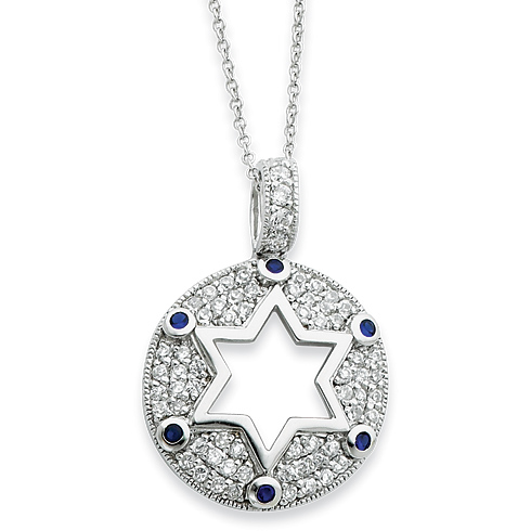 Sterling Silver Blue and Clear CZ Star of David 18in Necklace