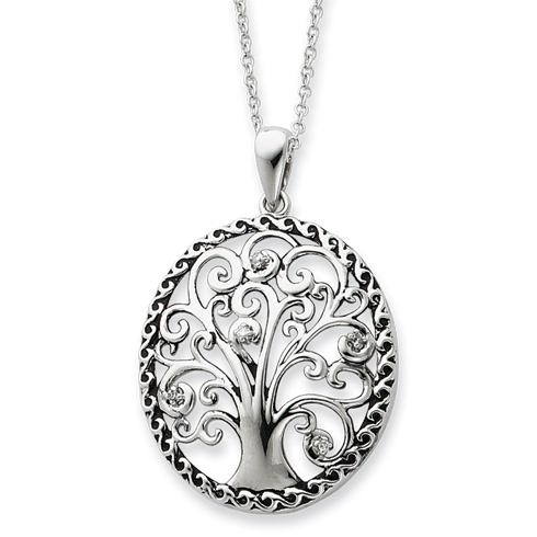 Sterling Silver Antiqued Tree of Life 18in Necklace