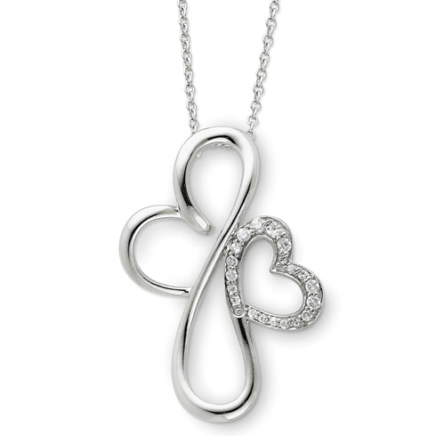Sterling Silver & CZ Everlasting Love 18in Necklace