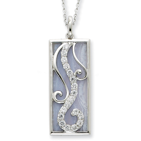 Sterling Silver Blue Lace Agate & CZ Living Water 18in Necklace