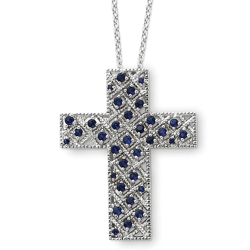 Sterling Silver Sept. CZ Birthstone Message of the Cross 18in Necklace