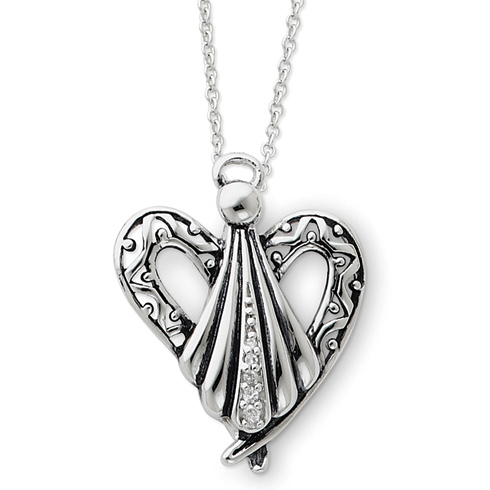 Sterling Silver Antiqued Angel of Friendship 18in Necklace