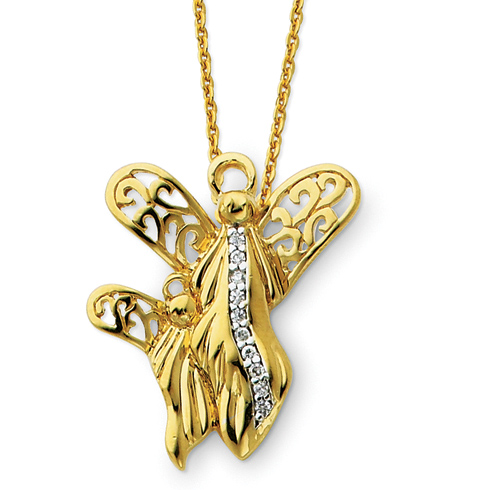 Sterling Silver & Gold-plated Angel of Motherhood 18in Necklace