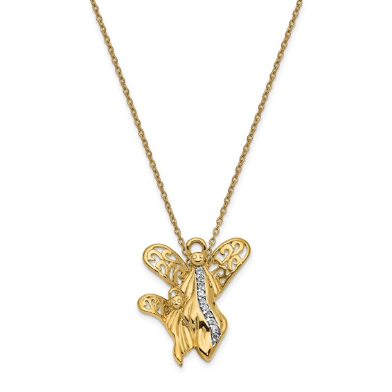 Angel of Motherhood Necklace Gold-plated Sterling Silver