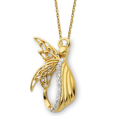 Sterling Silver & Gold-plated Angel of Perseverance 18in Necklace